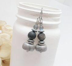 Silver dangle earrings  Silver beaded earrings by HappyElephantArt