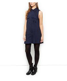 Innocence Navy Swing Shirt Dress | New Look