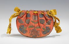 Pouch Date: early 18th century Culture: Russian Medium: silk, metal Dimensions: 4 3/4 x 3 1/2 in. (12.1 x 8.9 cm) Credit Line: Brooklyn Museum Costume Collection at The Metropolitan Museum of Art, Gift of the Brooklyn Museum, 2009; Gift of Mrs. Edward S. Harkness in memory of her mother, Elizabeth Greenman Stillman, 1931