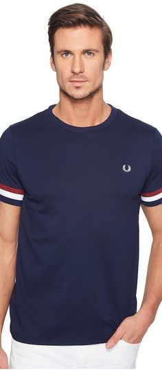Fred Perry Striped Cuff T-Shirt (Carbon Blue) Men's T Shirt - Fred Perry, Striped Cuff T-Shirt, M1533-266, Apparel Top Shirt, T Shirt, Top, Apparel, Clothes Clothing, Gift, - Fashion Ideas To Inspire