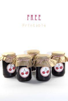 free printable label jam cherrys 3