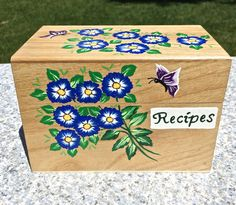 Hand Painted Recipe Box With Flowers And by ipaintitpretty on Etsy