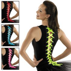 {Love this idea, but see if we can make it! Would look great with different ribbons and maybe tulle!!} Ribbon Lace-Up Dance Tank Top; Urban Groove