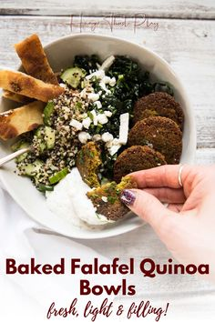 Oven-baked falafel quinoa bowls are protein packed vegetarian meals packed with fresh flavors, and crunchy veggies. An easy, healthy recipe that makes for a great make ahead lunch. This mediterranean quinoa bowl will leave you satisfied and energized! Baked Falafel, Veggie Recipes, Healthy Dinner Recipes, Healthy Food, Homemade Tzatziki, Fresh Eats, Veggie Wraps, Quinoa Bowl