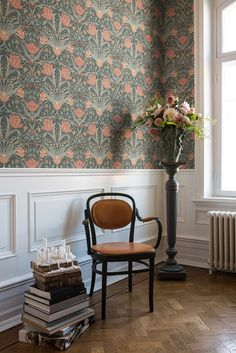Filippa by Galerie - Green / Blush - Wallpaper : Wallpaper Direct Hallway Wallpaper, Interior Wallpaper, Wallpaper Decor, Wallpaper For Living Room, Blush Wallpaper, Wallpaper Roll, Flower Wallpaper, Pink Wallpaper For Walls, Bedroom Wallpaper Flowers