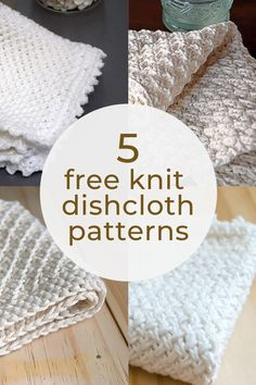 From beginner knit dishcloth patterns to more advanced knit dishcloth patterns with crochet edge, these 5 Free Knit Dishcloth Patterns will help you bust your yarn stash and create lovely washcloths for your own use or for gifting. Knitted Dishcloth Patterns Free, Knitted Washcloths, Easy Knitting Patterns, Free Knitting, Start Knitting, Crochet Patterns, Crochet Edgings, Loom Patterns, Crochet Motif