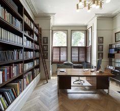 books + movable ladder...