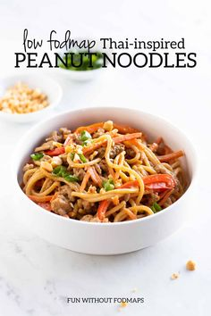 Low FODMAP Thai peanut noodles feature whole-grain brown rice spaghetti lean ground turkey and colorful FODMAP-free veggies tossed in a Thai-inspired peanut sauce. This low FODMAP meal can be ready in about 30 minutes. Fodmap Meal Plan, Fodmap Diet, Fodmap Foods, Low Fodmap Vegetables, Thai Peanut Noodles, Asian Recipes, Healthy Recipes, Tofu Recipes, Healthy Foods