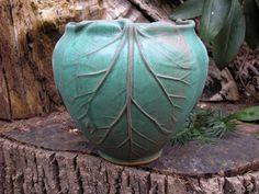 Rhubarb Vase in verdigris glaze Arts and Crafts style