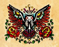 Old School Tattoo OWL Day of the Dead Art Print 8 x 10 - NEW from Illustrated Ink