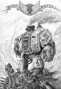 Fury by Skirill on DeviantArt Warhammer 40k Blood Angels, Warhammer 40k Art, Chaos Dreadnought, Lord Of War, Angel Of Death, The Grim, Space Marine, Monochrome, Geek Stuff