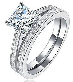 Tenfit Sterling Silver Princess Cut Halo Ring Set