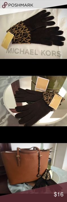 MICHAEL Michael Kors knitted cuff gloves AUTHENTIC MICHAEL Michael Kors Knitted signature MK cuffed gloves brown/ tan retails for $42 new with tags.. never worn. MICHAEL Michael Kors Accessories Gloves & Mittens