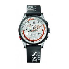 Hugo Boss - 1512501 - Montre Homme - Quartz Analogique - Cadran Argent - Chronographe - Bracelet Caoutchouc Gris
