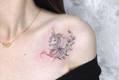 Wild Waters, Unicorn Tattoos, Tatoos, Watercolor Tattoo, Plum, Tattoo Ideas, Chic, Shabby Chic, Elegant