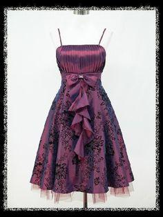 dress190 PURPLE 50s FLOCK TATTOO ROCKABILLY VINTAGE PROM EVENING DRESS 16-18 #dress190 #50sRockabilly #Party
