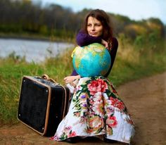 A globe and a suitcase Pinup Photoshoot, Photoshoot Ideas, Rivers And Roads, Travel Store, Cider House, Map Globe, Travel Log, Pack Your Bags, World Traveler