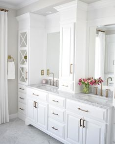 "470 Likes, 19 Comments - Kate Abt Design (@kateabtdesign) on Instagram: ""Just can't resist - bright white, marble and brass in the master bathroom at the Pebble Beach…"""