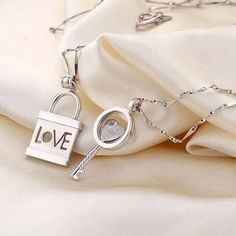 Personalized Name Engrave Lock and Key Love Match Couple Necklace - $74.00