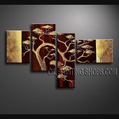 Large Contemporary Wall Art Artist Oil Painting Stretched Ready To Hang Tree. This 4 panels canvas wall art is hand painted by Bo Yi Art Studio, instock - $148. To see more, visit OilPaintingShops.com