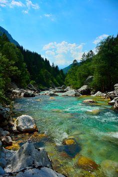 Soča river by karmen on Landscape Pictures, Nature Pictures, Landscape Photography, Nature Photography, Dream Water, Beach Wallpaper, Fantasy Landscape, Nature Scenes, Amazing Nature