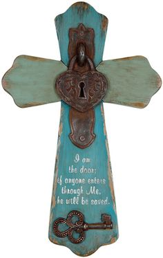 Lock and Key--Wall Cross - Shaped cross with the look of old and weathered wood is accented in vintage hardware lock and key; Scripture quote I am the door; if anyone enters through Me he will be saved. Wooden Crosses, Crosses Decor, Wall Crosses, Painted Crosses, Decorative Crosses, Christian Decor, Christian Crafts, Faith Crafts, Cross Crafts