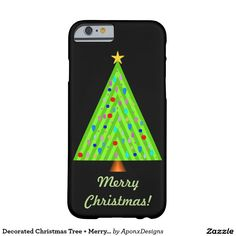 Shop Decorated Christmas Tree + Merry Christmas Case-Mate iPhone Case created by AponxDesigns. Christmas Tree Decorations, Iphone Case Covers, Cover Design, Iphone 6, Merry Christmas, Cases, Merry Little Christmas, Wish You Merry Christmas, Cover Art