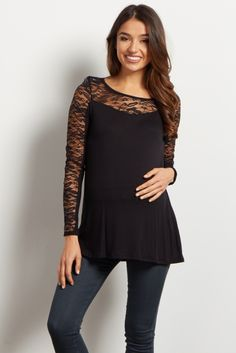 Black Lace Accent Long Sleeve Top