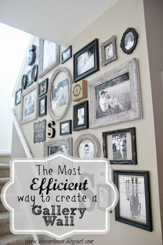 Most Efficient Way to Create a Gallery Wall A few simple tricks for creating a perfect gallery wall.The Most Efficient Way to Create a Gallery Wall A few simple tricks for creating a perfect gallery wall. Gallery Wall Staircase, Gallery Walls, Picture Wall Staircase, Picture Walls, Picture Frames On The Wall Stairs, Stairway Photo Gallery, Picture Collages, Stair Gallery, Gallery Wall Frames
