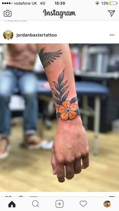 Traditional flower wrist tattoo