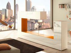 Freistehende Raumteiler Wohnwand aus Holz und Glas AIR SIDE by Lago Design Daniele Lago