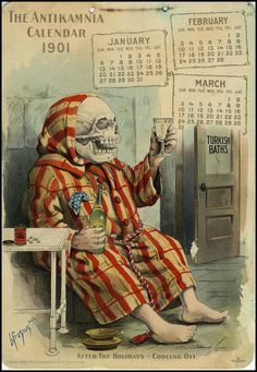 After the Holidays - Cooling Off IN: The Antikamnia Chemical Company Calendar, Jan-March, 1901