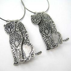 $10 3D Leopard Tiger Cat Animal Print Hoop Dangle Earrings in Silver