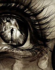 a hyperrealistic drawing of an eye, close up so you can see the reflection :) amazing!