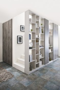 Discover our custom-made furniture and storage solutions for the whole house. Walk-in wardrobes, TV cabinets, cupboards, bookcases, choose materials and colours and personalise your furniture with Schmidt Stairs Design Interior, Home Room Design, Bathroom Interior Design, Home, Living Room Shelves, House Interior, Contemporary Living Room Furniture, Living Room Partition Design, Shelving Design