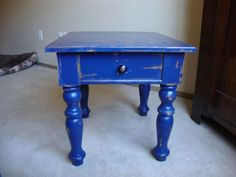 Austin: Cobalt blue hand distressed shabby chic end table $125 - http://furnishlyst.com/listings/65821