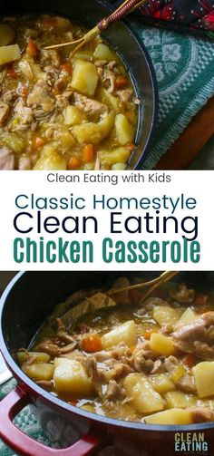A Classic, hearty clean eating chicken casserole that warms the tummy and the heart. This traditional family meal is packed with winter veggies and will have even the fussiest member of your family coming back for more. Budget Clean Eating, Clean Eating Chicken, Clean Eating Dinner, Healthy Eating Tips, Clean Eating Recipes, Eating Habits, Healthy Food, Clean Foods, Clean Diet