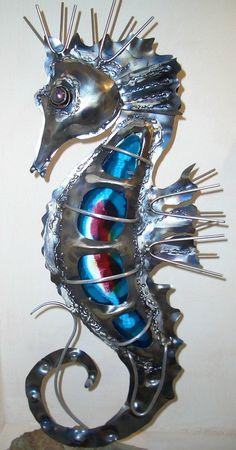 """Ocean Sea Seahorses:  """"Metal Seahorse,"""" by ~Riva, at deviantART."""