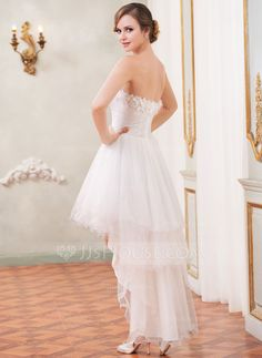 A-Line/Princess Sweetheart Asymmetrical Ruffle Beading Flower(s) Zipper Up Strapless Sleeveless Hall Reception General Plus No Spring Summer Fall Ivory Tulle Wedding Dress
