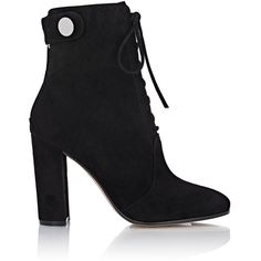 Gianvito Rossi Women's Suede Finlay Booties (4.050 BRL) ❤ liked on Polyvore featuring shoes, boots, ankle booties, heels, ankle boot, booties, black, high heel bootie, black booties and black bootie