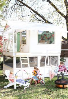 deck the handmade hideaway - The Handmade Home handmade hideaway – reader love – The Handmade Home Build A Playhouse, Playhouse Outdoor, Playhouse Ideas, Cubby Houses, Play Houses, Handmade Home, Outdoor Fun, Outdoor Spaces, Outdoor Kitchens