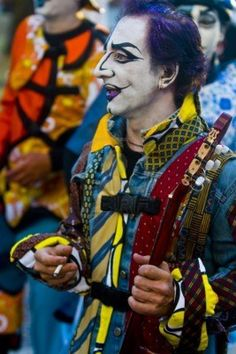 A costumed carnaval participant in the annual national festival of Montevideo #uruguay