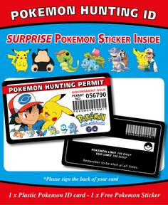 Pokemon Plastic ID Card Hunting Permit - Fun Novelty Pokemon, Name Day, Party Banners, Best Part Of Me, Free Gifts, Your Cards, Wall Stickers, Party Themes, Hunting