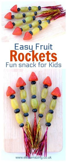 Girl Scout Space Science Snack Idea - Easy Fruit Rockets - Fun snack for kids - perfect for New Year parties and bonfirenight night - Eats Amazing UK snacks fruit Fun and Easy Fruit Rockets Recipe New Year's Snacks, Snacks Für Party, Healthy Snacks For Kids, Healthy Meals, Healthy Cooking, Kid Snacks, Kids Fun Foods, Summer Kids Snacks, Party Food Kids