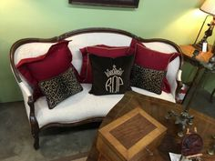 """Magnificent Antique Victorian Sofa   Dealer #0108  With wonderful light cream Rutherfords's upholstery.  75"""" Wide x 25"""" Deep x 36"""" High   $728  Lucas Street Antiques Mall 2023 Lucas Dr.  D"""
