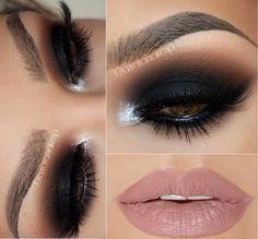 Black smokey eye with nude lips