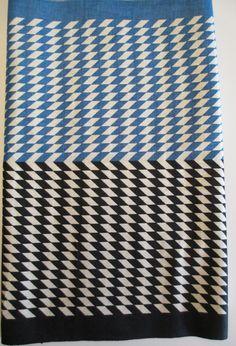 "2 yards plus Cotton Toweling Fabric -Blue Black Geometric Chevron Harlequin  20"" wide, 87"" long - Mod Kitchen."