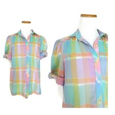 Pastel Shirt / Rainbow Plaid Top / Pastel Plaid Blouse / Pastel Grunge Top / 80s Plaid Shirt / Pastel Top / Rainbow Top / Rainbow Shirt by GoodLuxeVintage on Etsy