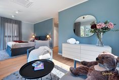 A home in sky blue created by our Vienna based interior design studio. Interior Design Studio, Bathroom Interior Design, Dining Room Blue, Himmelblau, Dark Interiors, Blue Bedroom, Blue Design, Living Spaces, Christmas Decorations