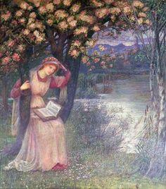 Woman Reading in a Garden. Marie Spartali Stillman (1844 – 1927), British Pre-Raphaelite painter of Greek descent.